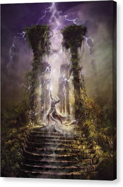 Canvas Print featuring the digital art Thunderstorm Wizard by Uwe Jarling