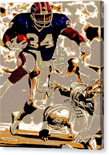 Barry Sanders Canvas Print - Thurman Thomas Making Them Miss by Brian Reaves