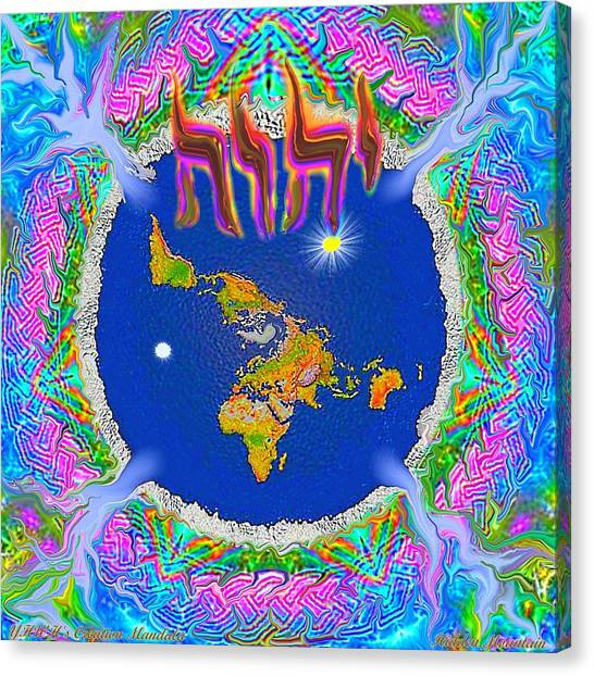 Y H W H Creation Mandala Flat Earth Canvas Print