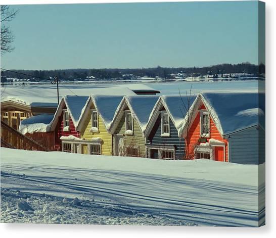 Winter View Ti Park Boathouses Canvas Print