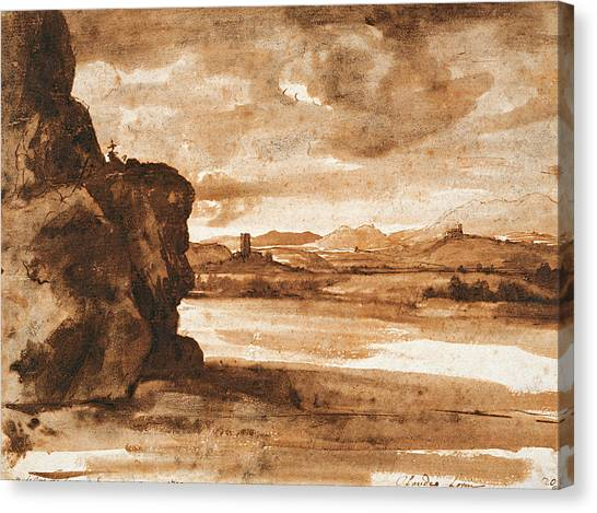 Baroque Canvas Print - Tiber Landscape North Of Rome With Dark Cloudy Sky by Claude Lorrain