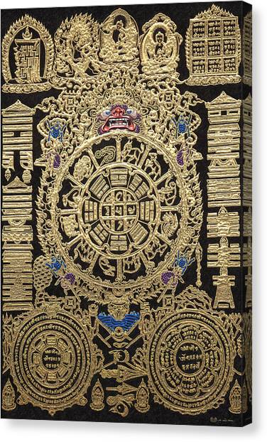 God Canvas Print - Tibetan Astrological Diagram by Serge Averbukh