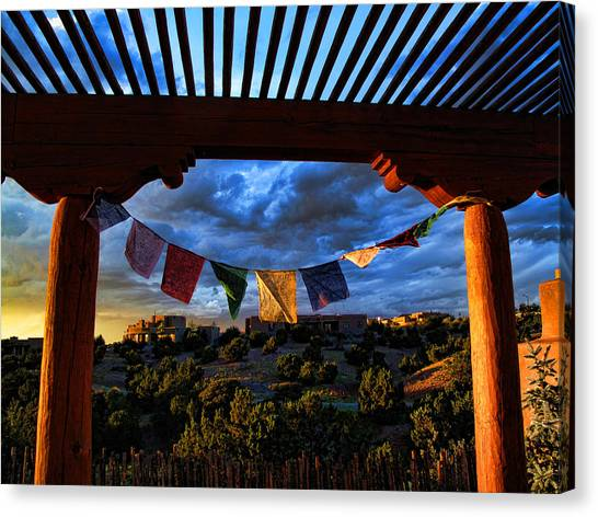 Tibetan Prayer Flags Outside My Office At Sundown Canvas Print