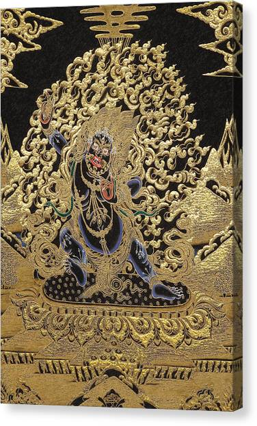 God Canvas Print - Tibetan Thangka - Vajrapani  by Serge Averbukh