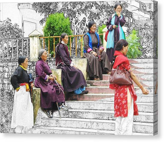 Tibetan Women Waiting Canvas Print