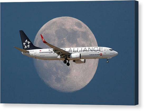 Airlines Canvas Print - Ticket To The Moon by Smart Aviation