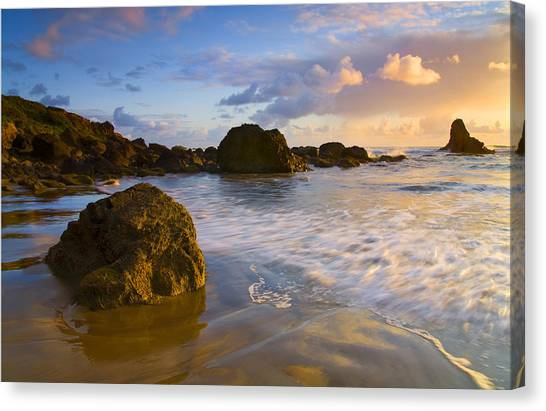 Beach Sunsets Canvas Print - Tidal Flow by Mike  Dawson