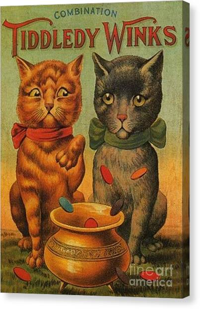 Tiddledy Winks Funny Victorian Cats Canvas Print