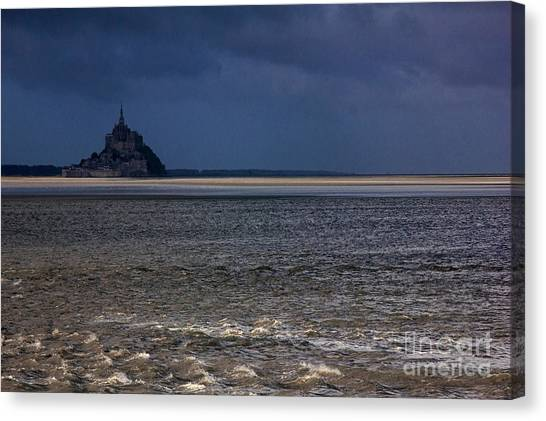 Tide In Mont Saint-michel Bay Canvas Print