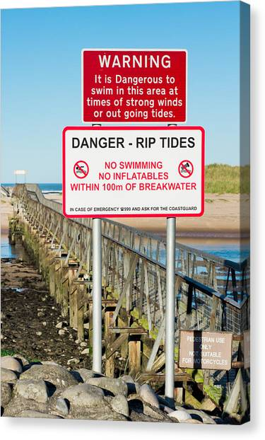 Caution Canvas Print - Tide Warning by Tom Gowanlock