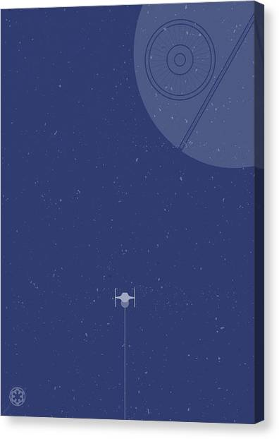Jedi Canvas Print - Tie Fighter Defends The Death Star by Samuel Whitton