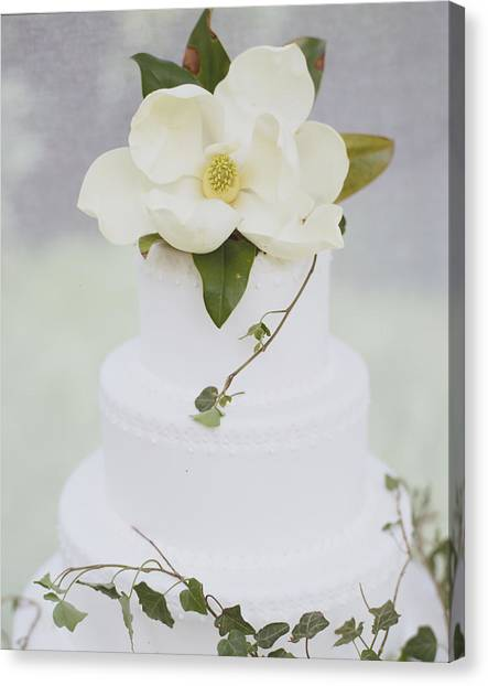 Bridal Canvas Print - Tiered Wedding Cake With Flower On Top by Gillham Studios