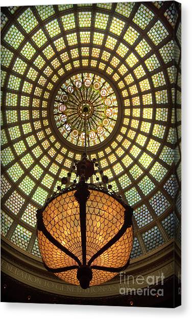Tiffany Ceiling In The Chicago Cultural Center Canvas Print