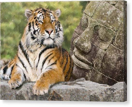 Tiger And Buddha Canvas Print