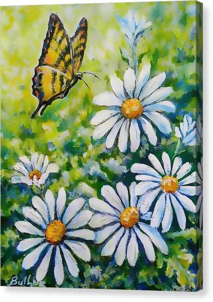 Tiger And Daisies  Canvas Print