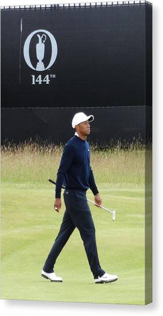 Golfers Canvas Print - Tiger At The 144th Open by Tony LLoyd