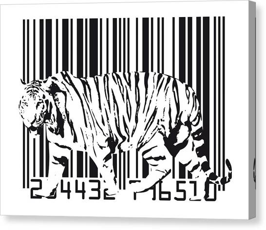 Cats Canvas Print - Tiger Barcode by Michael Tompsett