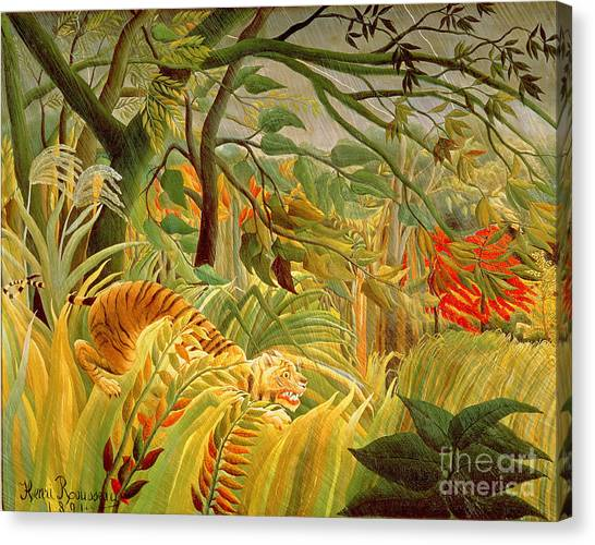 Tiger Woods Canvas Print - Tiger In A Tropical Storm by Henri Rousseau