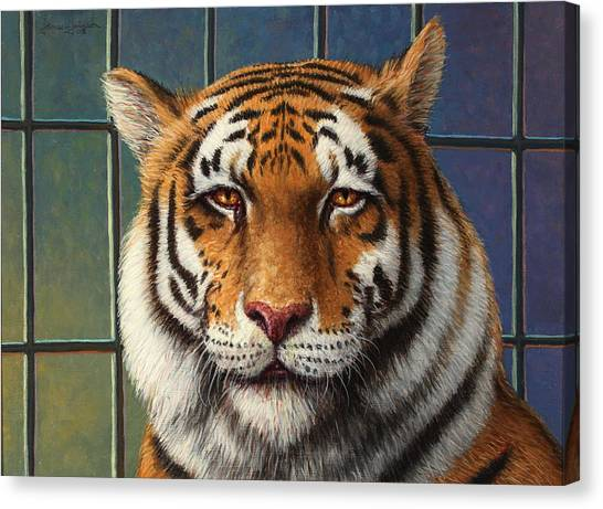 Carnivore Canvas Print - Tiger In Trouble by James W Johnson