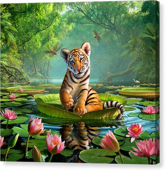 Egret Canvas Print - Tiger Lily by Jerry LoFaro