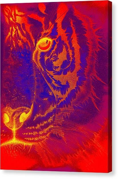 Tiger On Fire Canvas Print