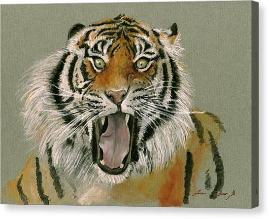 Tigers Canvas Print - Tiger Portrait by Juan Bosco
