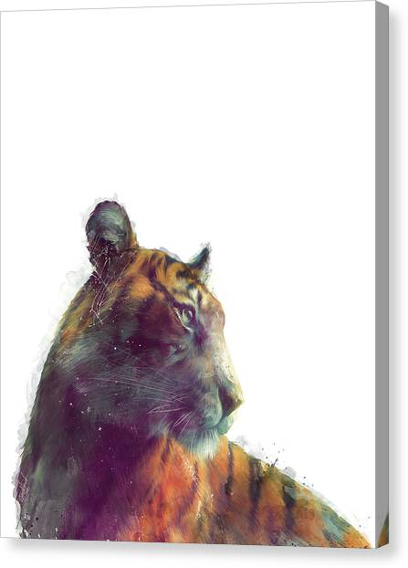 Fauna Canvas Print - Tiger // Solace - White Background by Amy Hamilton