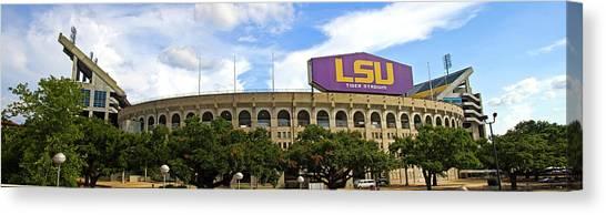 Louisiana State University Lsu Canvas Print - Tiger Stadium Panorama by Scott Pellegrin