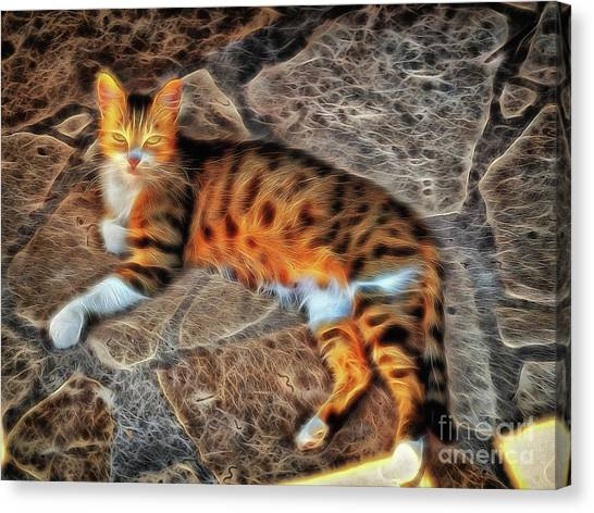 Canvas Print featuring the photograph Tiger Tiger Burning Bright by Leigh Kemp