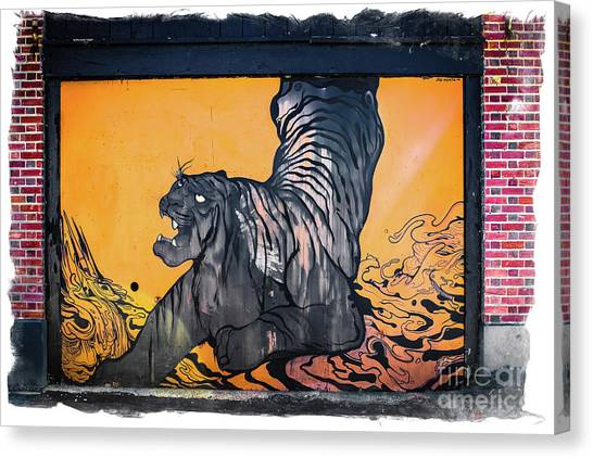 Graffiti Walls Canvas Print - Tiger Wall -graffiti by Colleen Kammerer