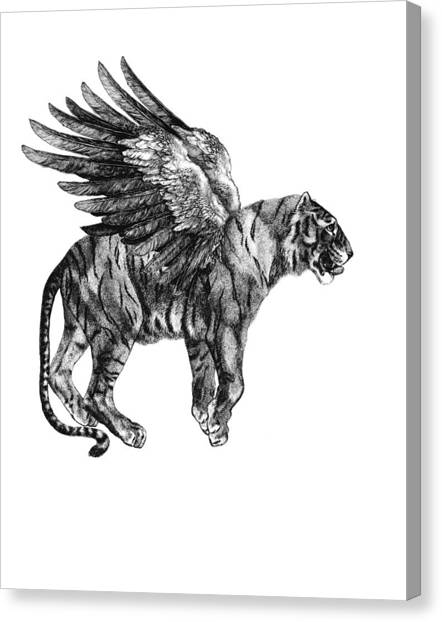 Black And White Canvas Print - Tiger With Wings, Black And White Illustration by Madame Memento