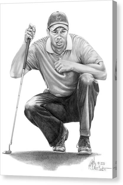 Golf Canvas Print -  Tiger Woods Crouching Tiger by Murphy Elliott