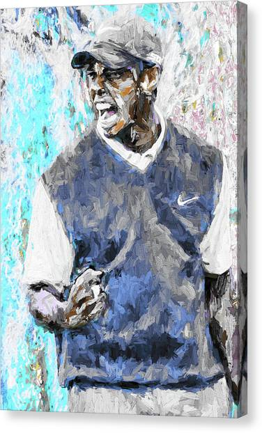 Tiger Woods One Blue Golfer Digital Art Canvas Print