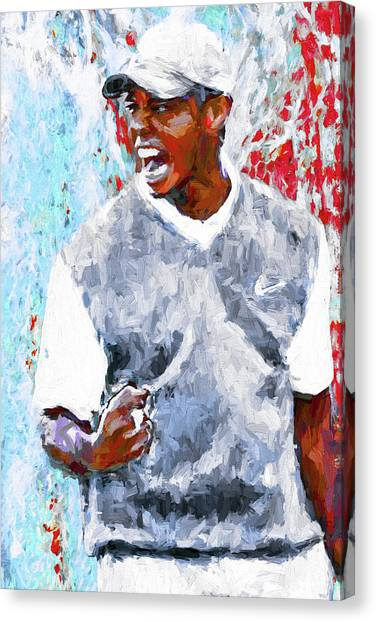 Tiger Woods One Two Red Painting Digital Canvas Print