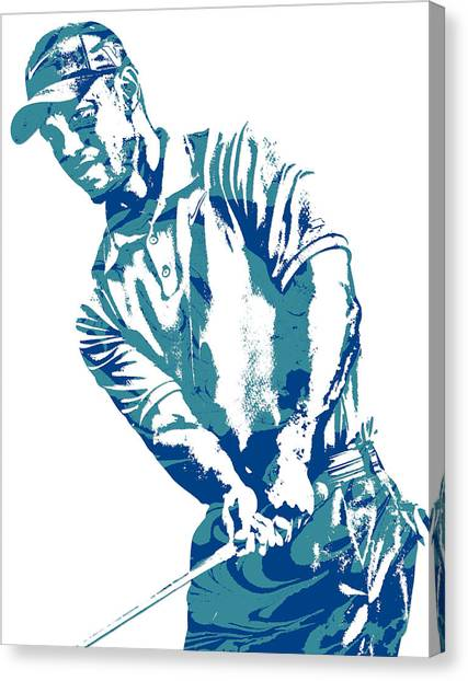 Tiger Woods Canvas Print - Tiger Woods Pga Golf Pro Pixel Art 1 by Joe Hamilton
