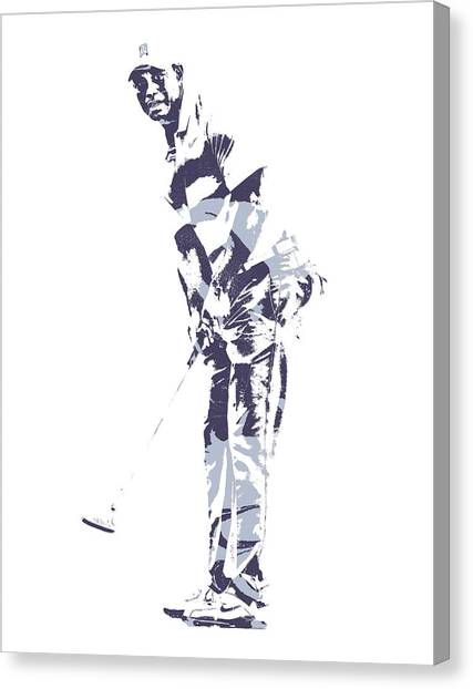 Tiger Woods Canvas Print - Tiger Woods Pga Golf Pro Pixel Art 2 by Joe Hamilton
