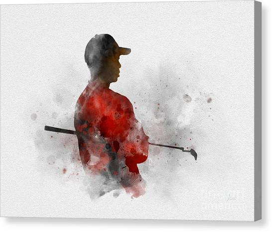 Tiger Woods Canvas Print - Tiger Woods by Rebecca Jenkins