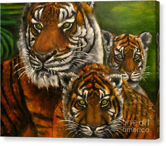 Tigers Family Oil Painting Canvas Print by Natalja Picugina