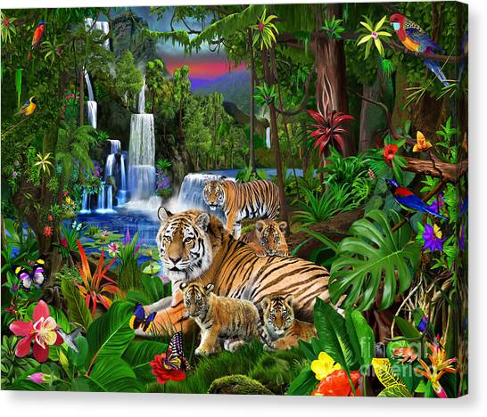 Toucans Canvas Print - Tigers Of The Forest by Gerald Newton