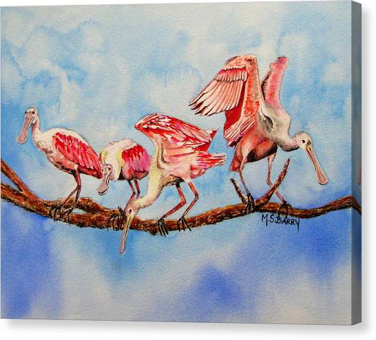 Spoonbills Canvas Print - Tight Rope by Maria Barry