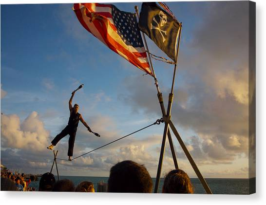 Tight Rope Walker In Key West Canvas Print by Carl Purcell