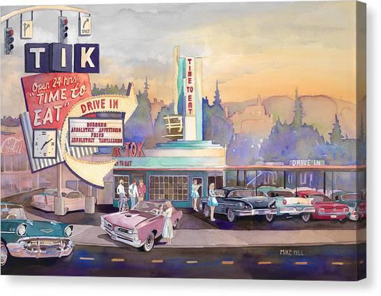 Ticks Canvas Print - Tik Tok Drive-inn by Mike Hill