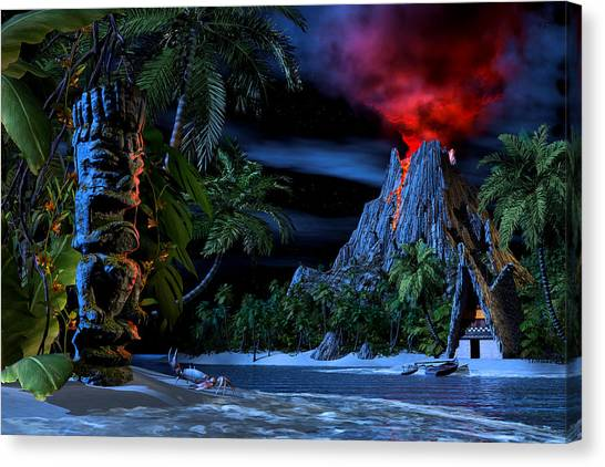 Lava Canvas Print - Tiki Jungle by Alex George