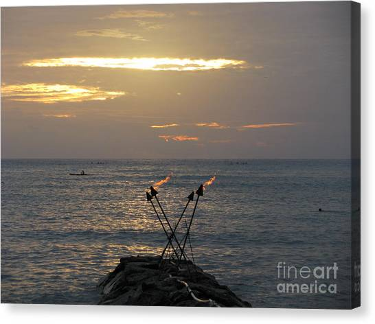 Tiki Torches In The Sunset Canvas Print