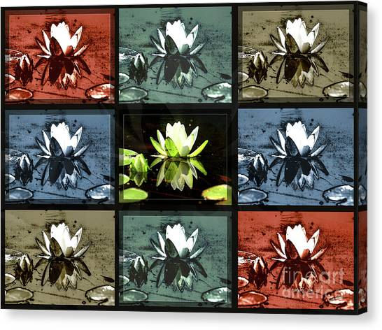 Tiled Water Lillies Canvas Print