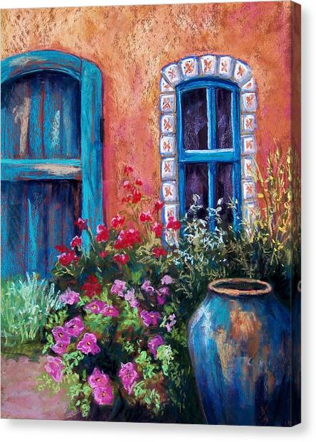 Geranium Canvas Print - Tiled Window by Candy Mayer