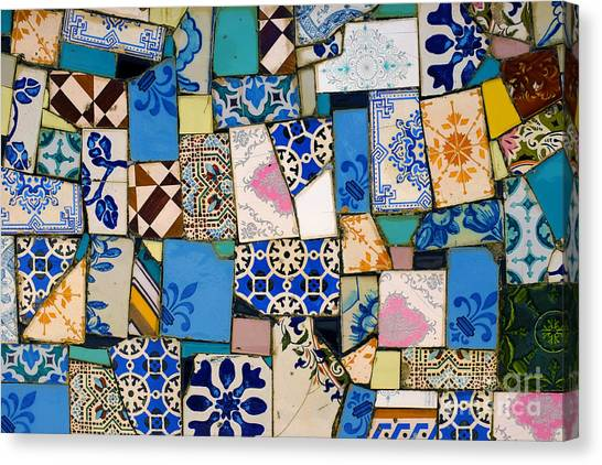 Ceramic Glazes Canvas Print - Tiles Fragments by Carlos Caetano
