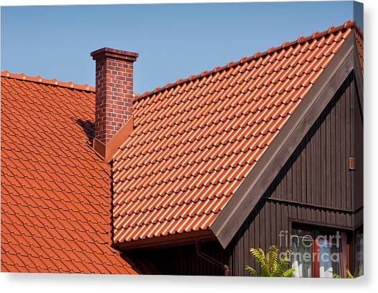 Chimney Tops Canvas Print - Tiles Rows Sheet Roof And Chimney by Arletta Cwalina