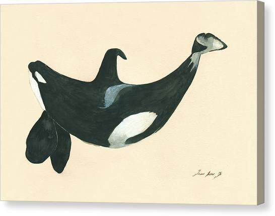 Orcas Canvas Print - Tilikum Killer Whale by Juan Bosco
