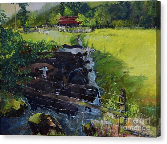 Canvas Print featuring the painting Till The Cows Come Home by Jan Dappen